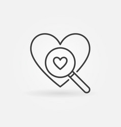 heart with magnifier line icon searching a vector image