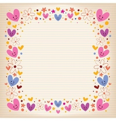 hearts and flowers retro frame vector image