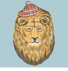 hipster wild big cat lion vector image