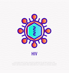 Hiv cell under microscope thin line icon vector