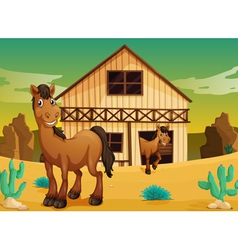 House and horses vector