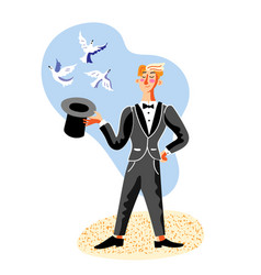 illusionist making tricks with hat and pigeons vector image