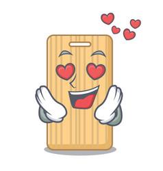In love wooden cutting board mascot cartoon vector