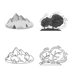 Isolated object of natural and disaster logo set vector