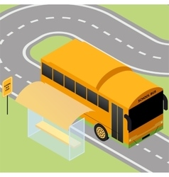 Isometric school bus stop vector image