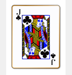 Jack clubs playing card vector