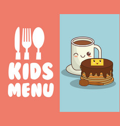 Kids menu restaurant breakfast nutrition vector