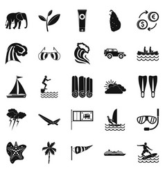 Kitesurfing icons set simple style vector