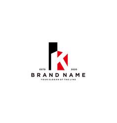Letter k and building logo design vector
