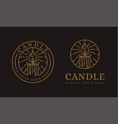 lineart candle logo icon on dark background vector image