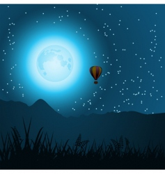 Midnight balloon ride vector