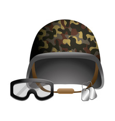 Military helmet and goggle and dog tag plates vector