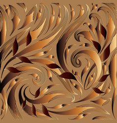 modern floral 3d seamless pattern gold brown vector image
