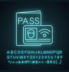 nfc identification system neon light icon vector image