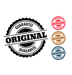 Original guarantee authentic rubber stamp set of vector