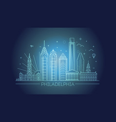 philadelphia pennsylvania usa skyline with vector image