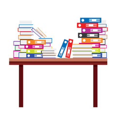 Pile books and document file folders on a vector