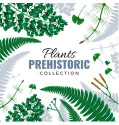 Prehistoric plants frame vector