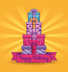 Presents gifts with ribbon decoration to brithday vector