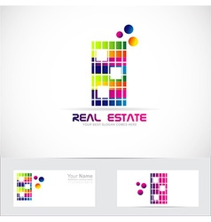 Real estate color building logo vector image
