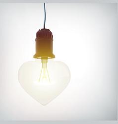 realistic hanging lightbulb romantic concept vector image