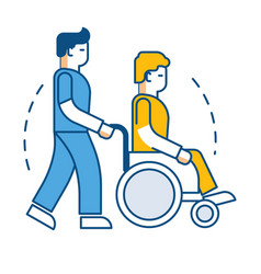 Rehabilitation and recovery man in wheelchair and vector