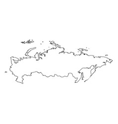 russia - solid black outline border map of country vector image