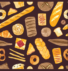 seamless pattern with delicious breads sweet vector image