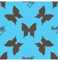 Seamless pattern with outline brown butterflies vector image vector image