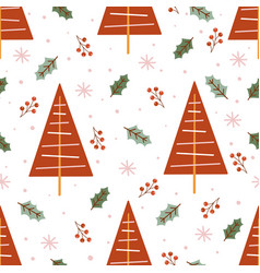 seamless pattern with red christmas trees vector image