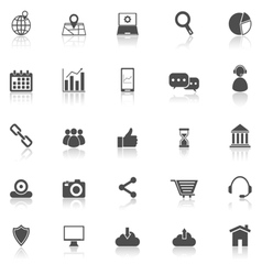 SEO icons with reflect on white background vector image vector image