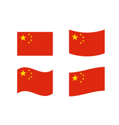 Set five starred red flag china vector