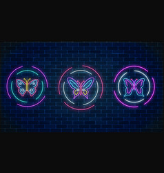 set of batterfly glowing neon signs in round vector image