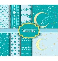 Set of seamless patterns - Starry Sky vector