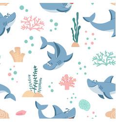 sharks pattern seamless shark print cute ocean vector image