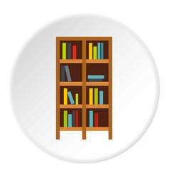Shelf of books icon circle vector