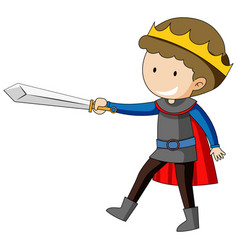 simple cartoon character of king holding sword vector image