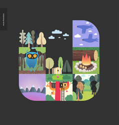 simple things - forest set composition on a black vector image
