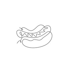 single continuous line drawing american hot vector image