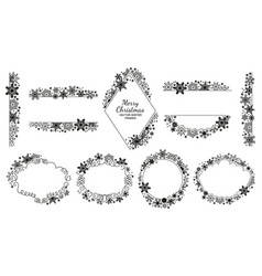Snowflake frame set black-white xmas collection vector