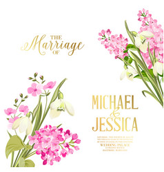 spring syringa flowers background for the marriage vector image