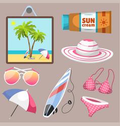 Summer time beach sea shore realistic accessory vector