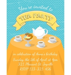 Tea Party Invitation Template vector image