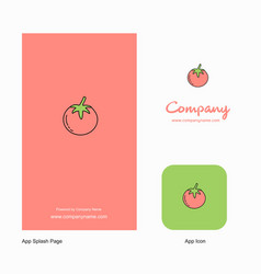 tomato company logo app icon and splash page vector image
