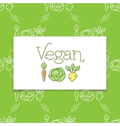 Vegan icon and logo concept in a line art style vector image