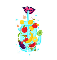 vegetables and fruits in a transparent glass for vector image