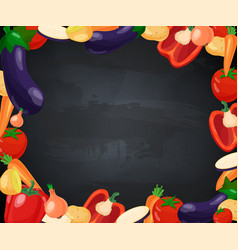 vegetables frame with chalk blackboard vector image