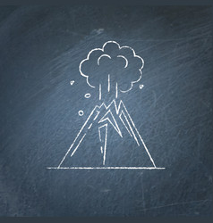 volcano eruption icon on chalkboard vector image
