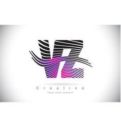 vz v z zebra texture letter logo design vector image