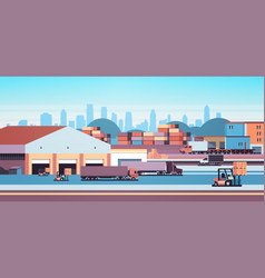 warehouse industrial container semi trailer vector image